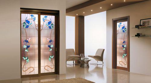 Produzione di vetrate artistiche e porte in vetro palermo - Decorazioni su porte interne ...